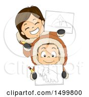 Clipart Of A Boy And Girl Eskimo Holding Drawings And Pencils Royalty Free Vector Illustration