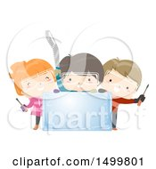 Clipart Of A Group Of Children Holding Carving Tools Around An Ice Block Royalty Free Vector Illustration