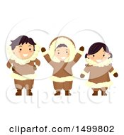 Clipart Of A Group Of Eskimo Children Royalty Free Vector Illustration by BNP Design Studio