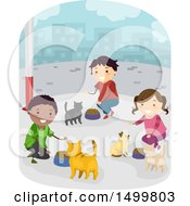 Clipart Of A Group Of Children Feeding Stray Cats Royalty Free Vector Illustration by BNP Design Studio