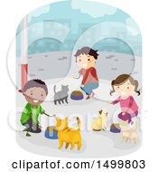 Group Of Children Feeding Stray Cats
