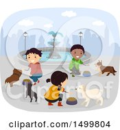 Group Of Children Feeding Stray Dogs