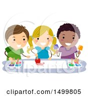 Clipart Of A Group Of Children Ice Cube Painting Royalty Free Vector Illustration by BNP Design Studio