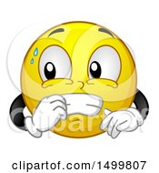 Clipart Of A Smiley Emoticon Emoji Nervously Biting His Nails Royalty Free Vector Illustration