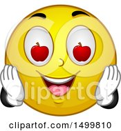 Poster, Art Print Of Smiley Emoticon Emoji With Apple Eyes