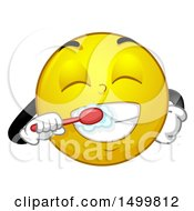 Clipart Of A Smiley Emoticon Emoji Brushing His Teeth Royalty Free Vector Illustration by BNP Design Studio