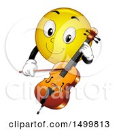 Clipart Of A Smiley Emoticon Emoji Playing A Cello Royalty Free Vector Illustration