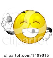 Poster, Art Print Of Smiley Emoticon Emoji Smiling With A Missing Tooth And Showing Tooth Fairy Money