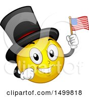 Clipart Of A Smiley Emoticon Emoji Wearing A Top Hat And Holding An American Flag Royalty Free Vector Illustration by BNP Design Studio