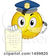 Clipart Of A Smiley Emoticon Emoji Police Officer Holding Out A Ticket Royalty Free Vector Illustration by BNP Design Studio