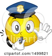 Clipart Of A Smiley Emoticon Emoji Police Officer Blowing A Whistle Royalty Free Vector Illustration by BNP Design Studio