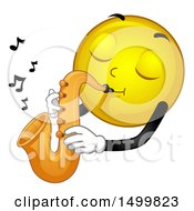 Clipart Of A Smiley Emoticon Emoji Musician Playing A Saxophone Royalty Free Vector Illustration by BNP Design Studio