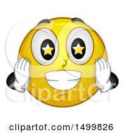 Clipart Of A Smiley Emoticon Emoji With Starry Eyes Royalty Free Vector Illustration