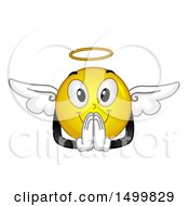 Clipart Of A Smiley Emoticon Emoji Angel Praying Royalty Free Vector Illustration