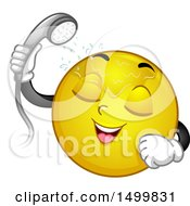 Clipart Of A Smiley Emoticon Emoji Taking A Shower Royalty Free Vector Illustration