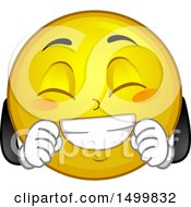 Clipart Of A Smiley Emoticon Emoji Acting Giddy Royalty Free Vector Illustration