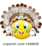 Clipart Of A Smiley Emoticon Emoji Native American Chief Royalty Free Vector Illustration