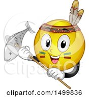 Clipart Of A Smiley Emoticon Emoji Native American Holding A Fish Caught With A Spear Royalty Free Vector Illustration