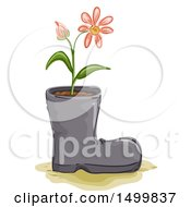 Clipart Of A Sketched Recycled Boot With A Flower Plant Royalty Free Vector Illustration