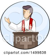 Clipart Of A Sketched Priest At A Podium Royalty Free Vector Illustration