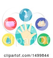 Clipart Of Clean Hand Water Soap Faucet Hand Washing And Towel Icons Royalty Free Vector Illustration