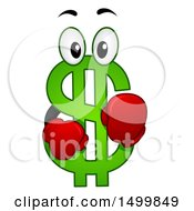 Clipart Of A USD Dollar Currency Symbol Mascot Royalty Free Vector Illustration