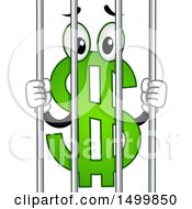 Clipart Of A USD Dollar Currency Symbol Mascot Behind Jail Bars Royalty Free Vector Illustration