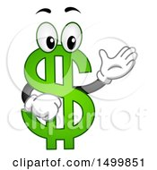 Clipart Of A USD Dollar Currency Symbol Mascot Presenting Royalty Free Vector Illustration by BNP Design Studio