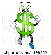 Clipart Of A USD Dollar Currency Symbol Mascot Running Royalty Free Vector Illustration