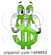 Clipart Of A Worried And Stressed USD Dollar Currency Symbol Mascot Royalty Free Vector Illustration by BNP Design Studio