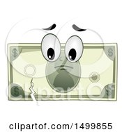 Clipart Of A Sad Torn Dollar Bill Mascot Character Royalty Free Vector Illustration