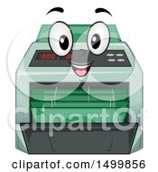 Clipart Of A Money Counter Machine Mascot Royalty Free Vector Illustration