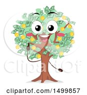 Clipart Of A Money Tree Mascot Character Royalty Free Vector Illustration