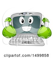 Clipart Of A Laptop Computer Mascot Character Holding Money Bags Royalty Free Vector Illustration