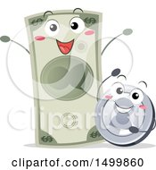 Clipart Of A Happy Coin And Dollar Bill Royalty Free Vector Illustration