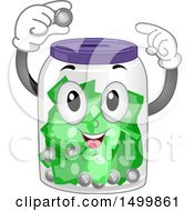 Clipart Of A Happy Savings Jar Mascot Depositing A Coin Royalty Free Vector Illustration