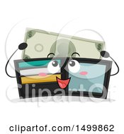 Clipart Of A Happy Billfold Wallet Mascot Depositing A Dollar Royalty Free Vector Illustration