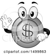 Clipart Of A Happy Coin Mascot Gesturing Ok Royalty Free Vector Illustration