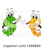 Clipart Of A USD Dollar Currency Symbol Mascot Exchanging Cash With A Euro Character Royalty Free Vector Illustration