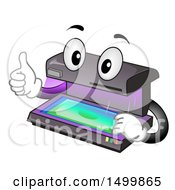 Clipart Of A Currency Detector Validator Mascot Giving A Thumb Up Royalty Free Vector Illustration