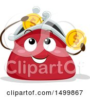 Clipart Of A Happy Coin Purse Mascot Depositing Coins Royalty Free Vector Illustration