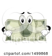 Clipart Of A Sad Crumpled Dollar Bill Mascot Royalty Free Vector Illustration