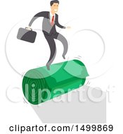 Clipart Of A Business Man On A Roll Balancing On Cash Royalty Free Vector Illustration