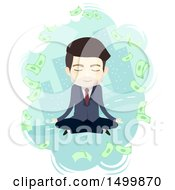 Clipart Of A Business Man Meditating And Thinking About Money In A City Royalty Free Vector Illustration