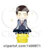 Clipart Of A Business Man Meditating On A Stack Of Gold Coins Royalty Free Vector Illustration