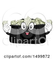 Clipart Of A Duffle Bag Mascot Full Of Cash Money Royalty Free Vector Illustration