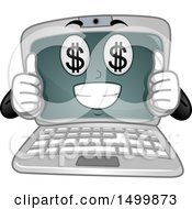 Clipart Of A Laptop Computer Mascot Character With Money Eyes Giving Two Thumbs Up Royalty Free Vector Illustration