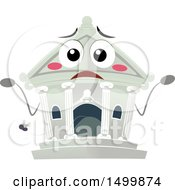 Clipart Of A Bank Building Mascot Shrugging Royalty Free Vector Illustration