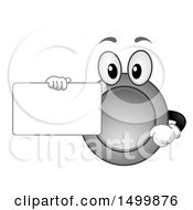 Clipart Of A Silver Coin Mascot Holding A Blank Card Royalty Free Vector Illustration