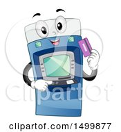 Clipart Of A Happy ATM Machine Character Holding A Debit Card Royalty Free Vector Illustration
